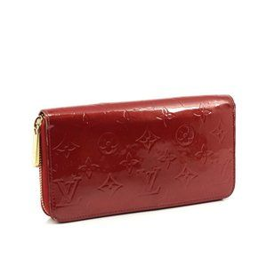 Auth Louis Vuitton Zippy Wallet Red #N0347V75